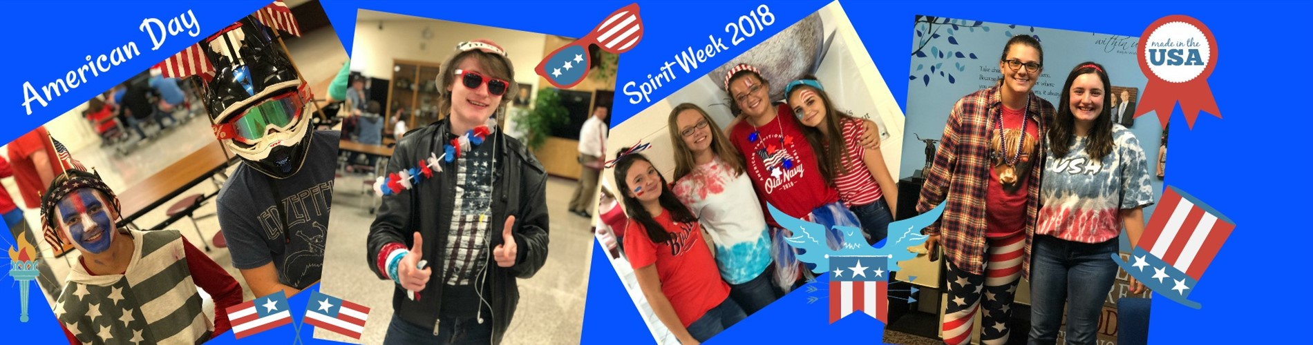 Students dressed up for America Day during Spirit Week